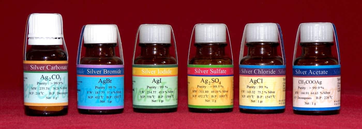 تولید انواع ترکیبات نقره Silver carbonate-Silver bromide-Silver iodide-Silver sulfate-Silver chloride